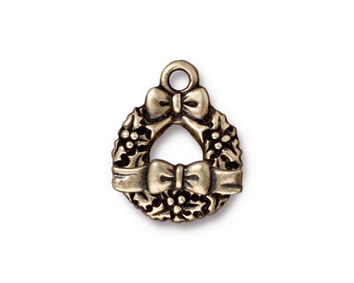 TierraCast Antique Brass (plated) Wreath & Bow Toggle Clasp 16x20mm, 16x4mm bar