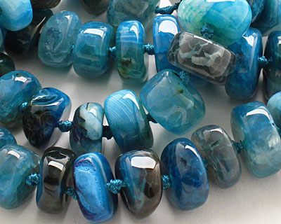 Sky Blue Line Agate Chunky Graduated Rondelle 7-15x12-24mm
