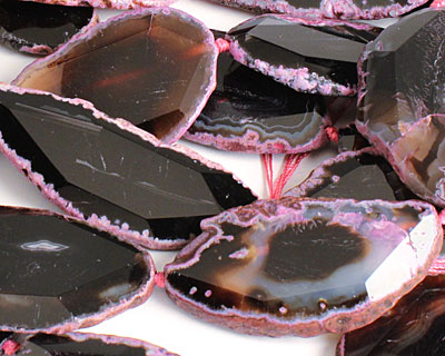 Black Agate w/ Ruby Natural Edge Freeform Faceted Slab 48-70x28-42mm