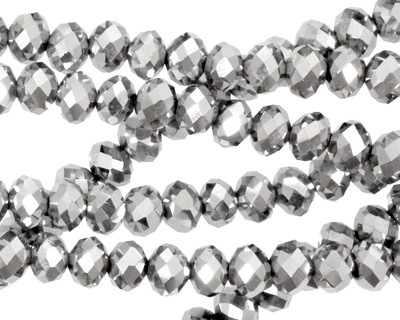 Metallic Silver Crystal Faceted Rondelle 6mm