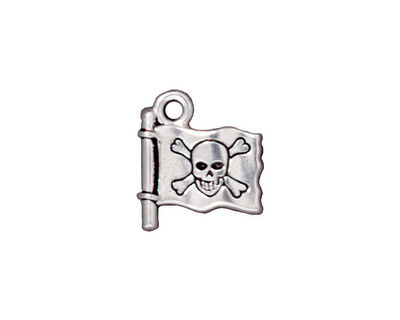 TierraCast Antique Silver (plated) Jolly Roger Charm 14x16mm