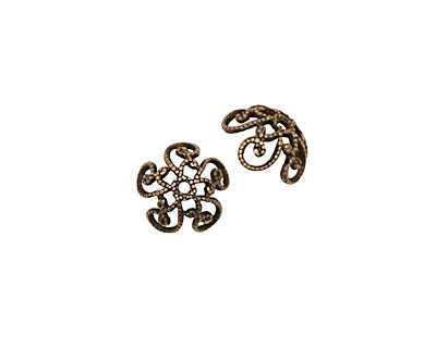 Stampt Antique Pewter (plated) Fancy Swirl Bead Cap 10x4mm
