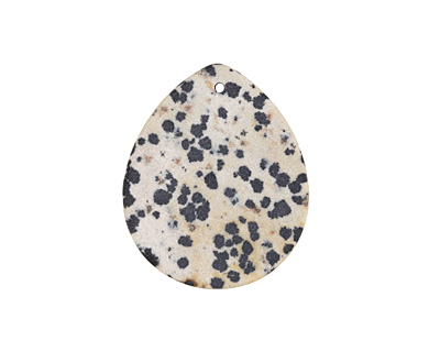 Dalmatian Jasper (matte) Flat Teardrop Pendant 35x42mm