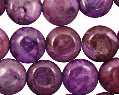Lilac Purple Crazy Lace Agate Puff Coin 14mm