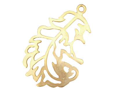 Ezel Findings Gold (plated) Downy Feather Pendant 22x37mm
