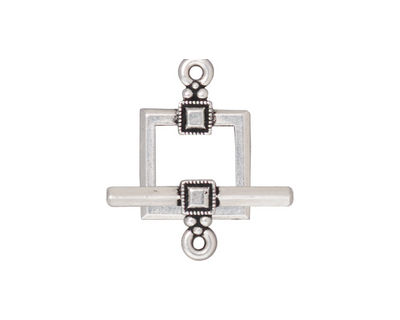 TierraCast Antique Silver (plated) Deco Square Toggle Clasp 22x17mm, 23 Bar