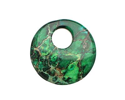 Dark Emerald Impression Jasper Coin Pendant 30mm