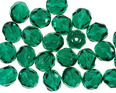 Czech Fire Polished Glass Emerald Round 8mm