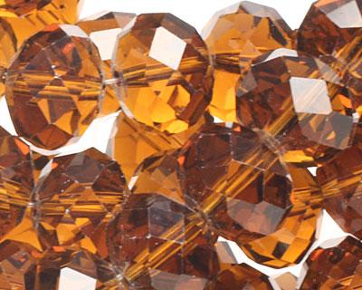 Dark Topaz Crystal Faceted Rondelle 10mm