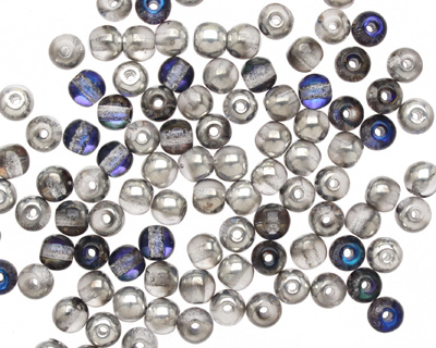 Czech Glass Silver/Blue Crystal Round 4mm