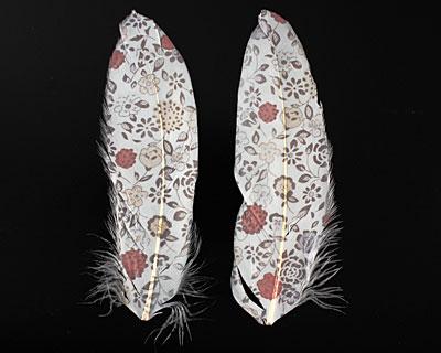 Vintage Flowers Printed Feathers