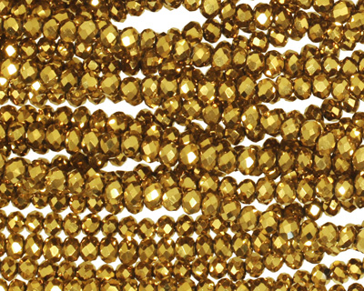Metallic Antique Gold Crystal Faceted Rondelle 3mm
