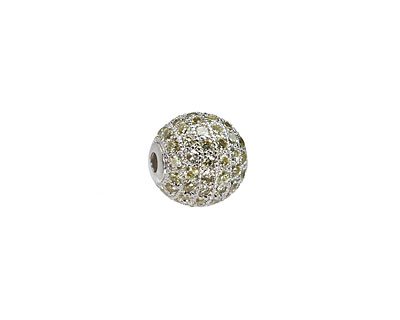 Silver (plated) & Jonquil CZ Micro Pave Round 10mm