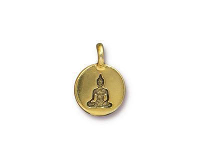 TierraCast Antique Gold (plated) Buddha Round Charm 12x17mm