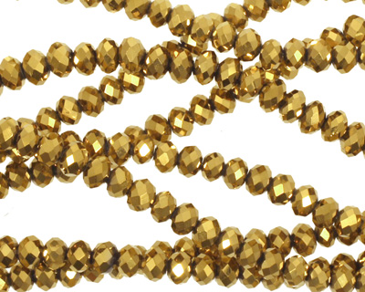 Metallic Antique Gold Crystal Faceted Rondelle 4mm