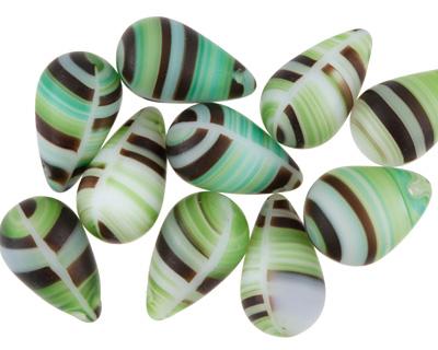 Czech Glass Matte Grasshopper Teardrop 9x15mm