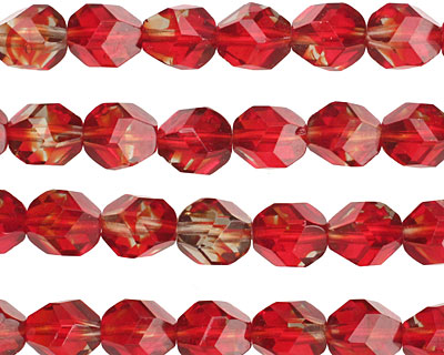 Czech Glass Candied Apple Faceted Nugget 8mm