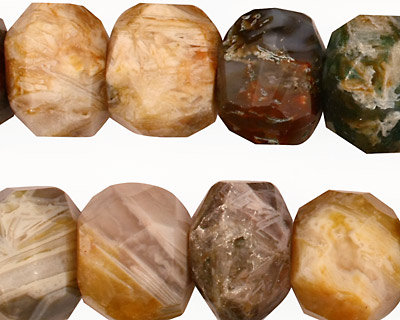 Bamboo Leaf Agate Faceted Rondelle 19-20mm
