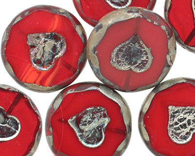 Czech Glass Pomegranate Bronzed Picasso Heart in Coin 21mm