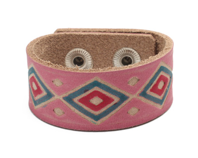 Hand Painted Pink Tribal Print Leather Cuff 1 1/16