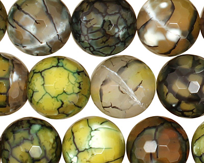 Olive Fire Agate (with white) Faceted Round 14mm