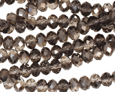 Smoky & Jet Hematite Crystal Faceted Rondelle 6mm