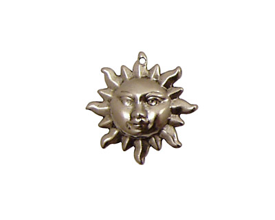 Stampt Antique Pewter (plated) Sun Face Charm 20mm