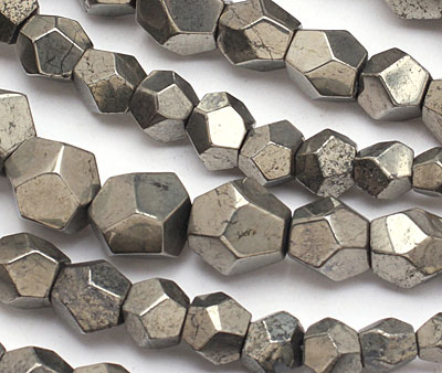 Golden Pyrite (silver tone) Graduated Faceted Nugget 6-19x7-17mm