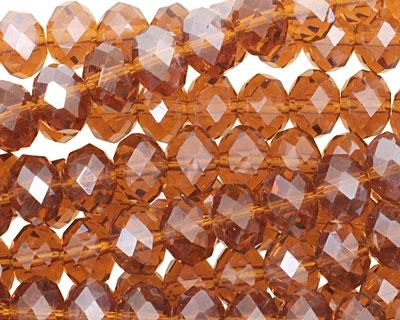 Dark Topaz Crystal Faceted Rondelle 8mm