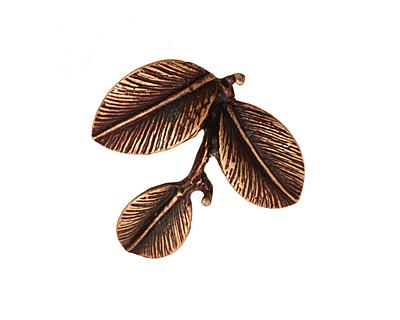 Ezel Findings Antique Copper Camellia Leaves Pendant 27x24mm