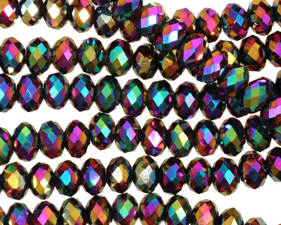 Metallic Peacock Crystal Faceted Rondelle 6mm