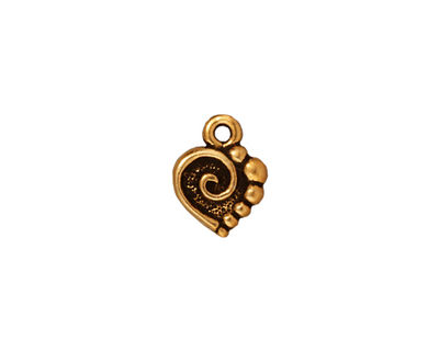 TierraCast Antique Gold (plated) Spiral Heart Charm 10x12mm