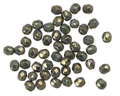 Czech Glass Bronzed Turquoise Picasso Fire Polished Round 4mm