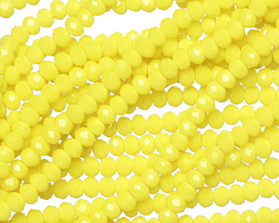 Vintage Yellow Crystal Faceted Rondelle 3mm