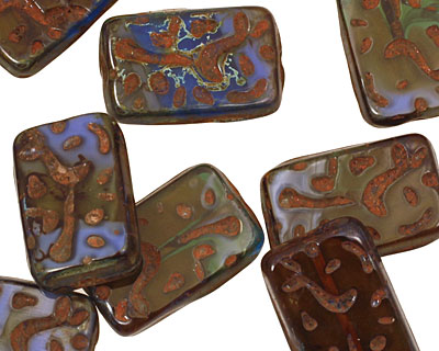 Czech Glass Denim Dreams Groovy Rectangle 18x12mm