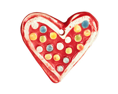Jangles Ceramic Red Heart Pendant 40-43x35-36mm