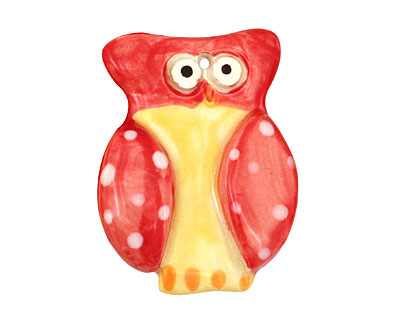 Jangles Ceramic Red Owl Pendant 35x45mm
