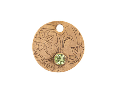 Nunn Design Antique Gold (plated) Decorative Small Circle Tag w/ Peridot Crystal 20mm