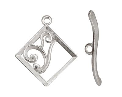 Silver (plated) Diamond w/ Swirls Toggle Clasp 28x24mm, 29mm bar