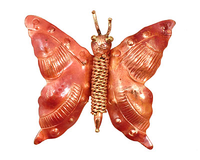 Patricia Healey Copper Coiled Rope Butterfly Pendant 48x42mm