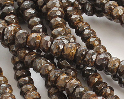 Bronzite Faceted Rondelle 3x5mm