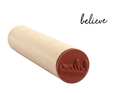 Believe (cursive) Mini Rubber Stamp 17x7mm