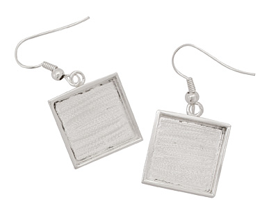Silver (plated) Square Bezel Earrings 17mm