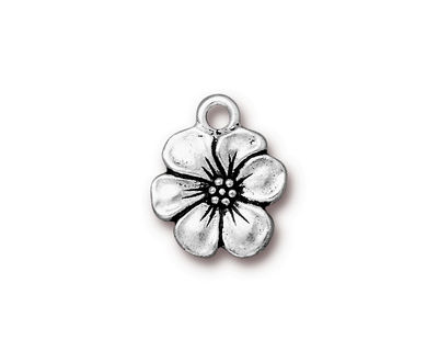TierraCast Antique Silver (plated) Apple Blossom Charm 14x17mm