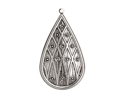 Stampt Antique Pewter (plated) Lattice Teardrop 32x58mm