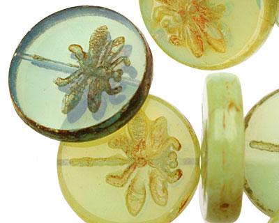 Czech Glass Peruvian Opal Dragonfly Coin 23mm