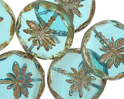 Czech Glass Beach Glass Dragonfly Coin w/ Scalloped Edge 22mm