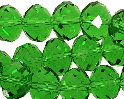 Kelly Green Crystal Faceted Rondelle 14mm