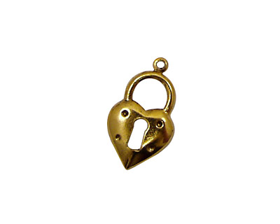Stampt Antique Gold (plated) Heart Lock Charm 12x20mm