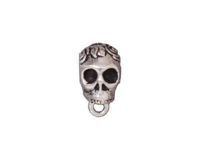 TierraCast Antique Silver (plated) .25 ID Skull Bail 8x12mm